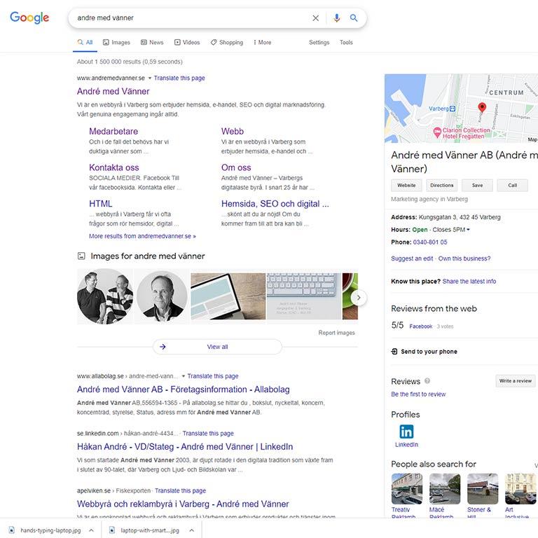 SEO sökmotoroptimering hemsida Google Varberg
